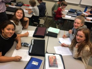 (l to r) Leily K., Ruby B., Chloe B., and Bronte B. collaborate on a math demo